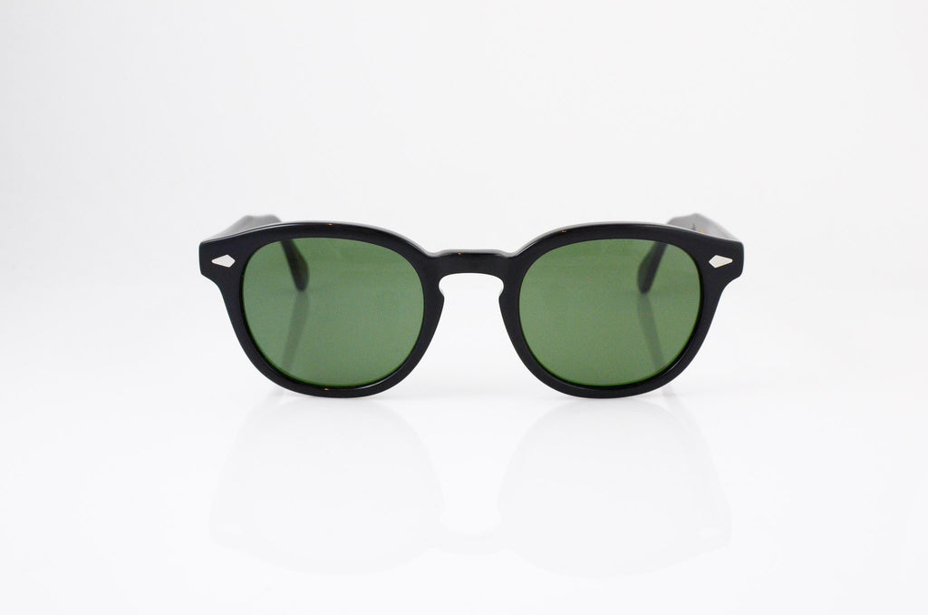Moscot Lemtosh Sunglasses in Black with G-15 lens, front view, from Specs Optometry