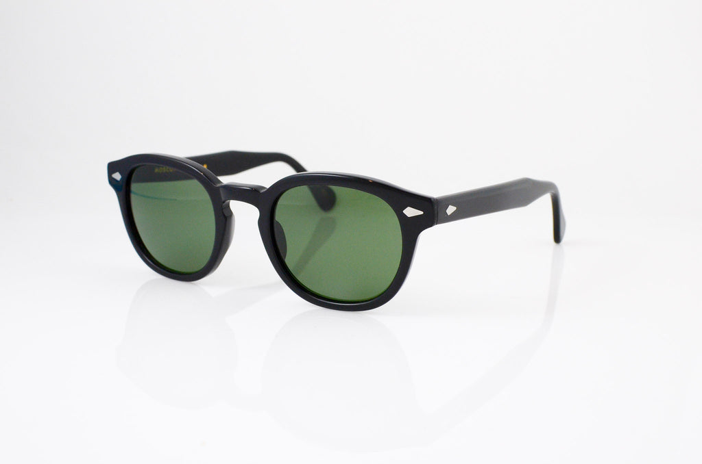 Moscot Lemtosh Sunglasses in Black with G-15 lens, side view, from Specs Optometry