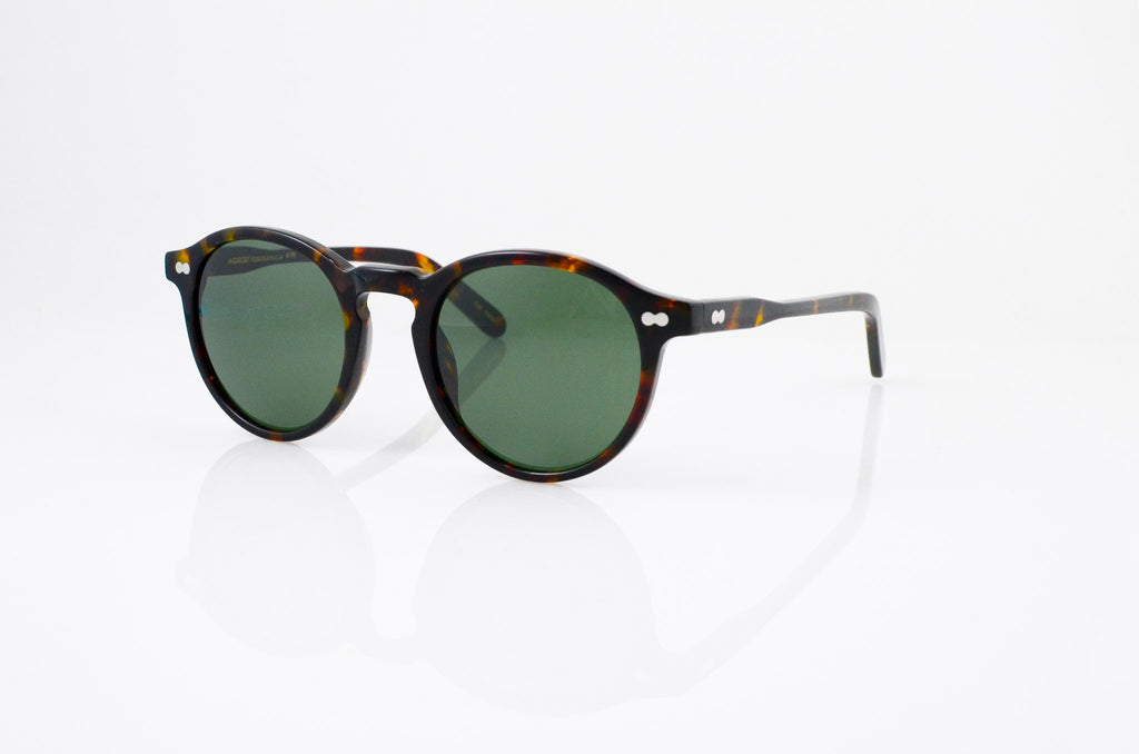 Moscot Miltzen Sunglasses In Tortoise, side view, from Specs Optometry
