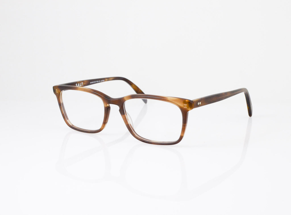 Angled shot of SALT. Optics Reid Eyeglasses in Matte Tweed Moss