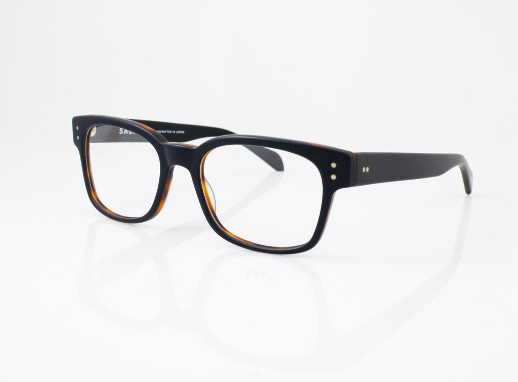 SALT Klaus Eyeglasses in Matte Black Oak, side view, from Specs Optometry