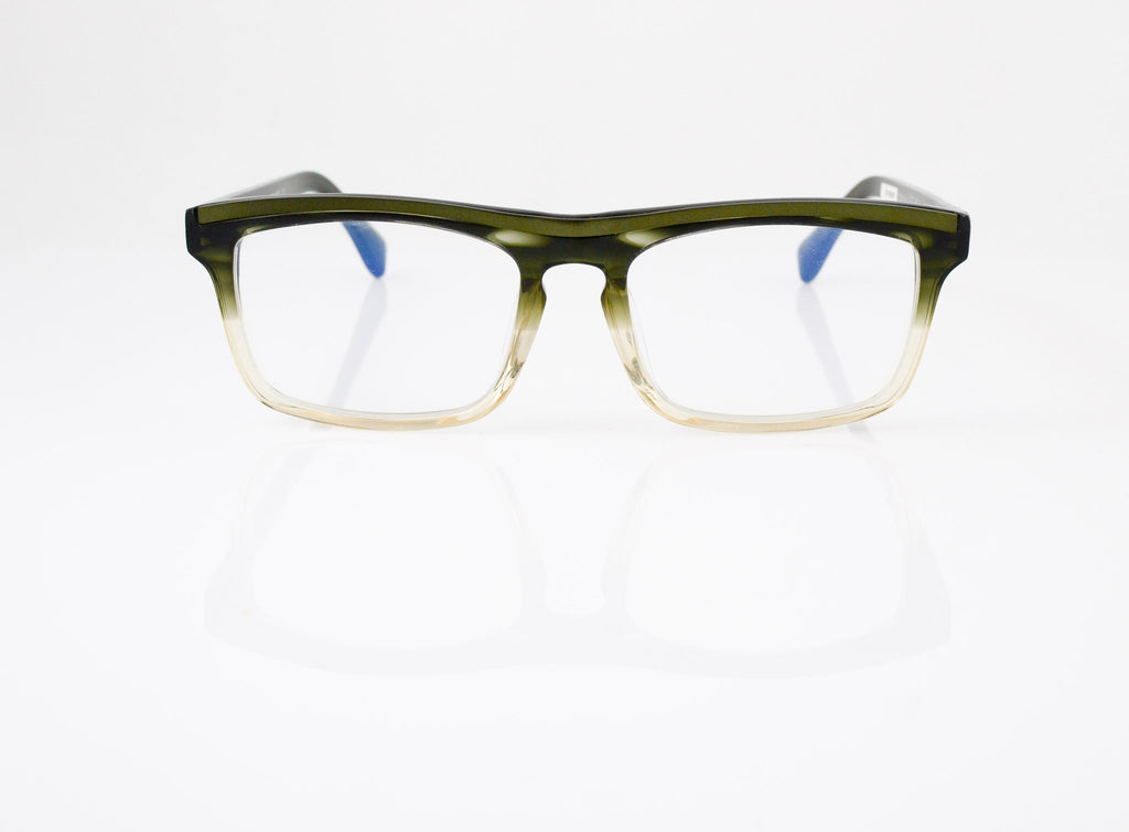 Tarian Invalides Eyeglasses in Olive Crystal Fade, front view, from Specs Optometry