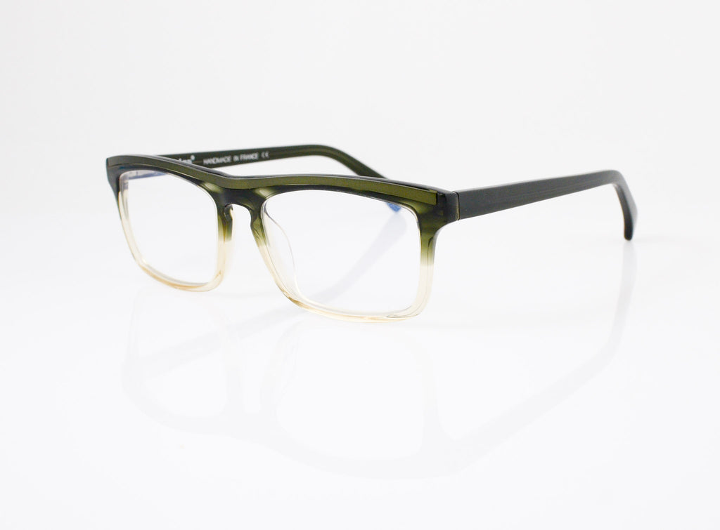 Tarian Invalides Eyeglasses in Olive Crystal Fade, side view, from Specs Optometry