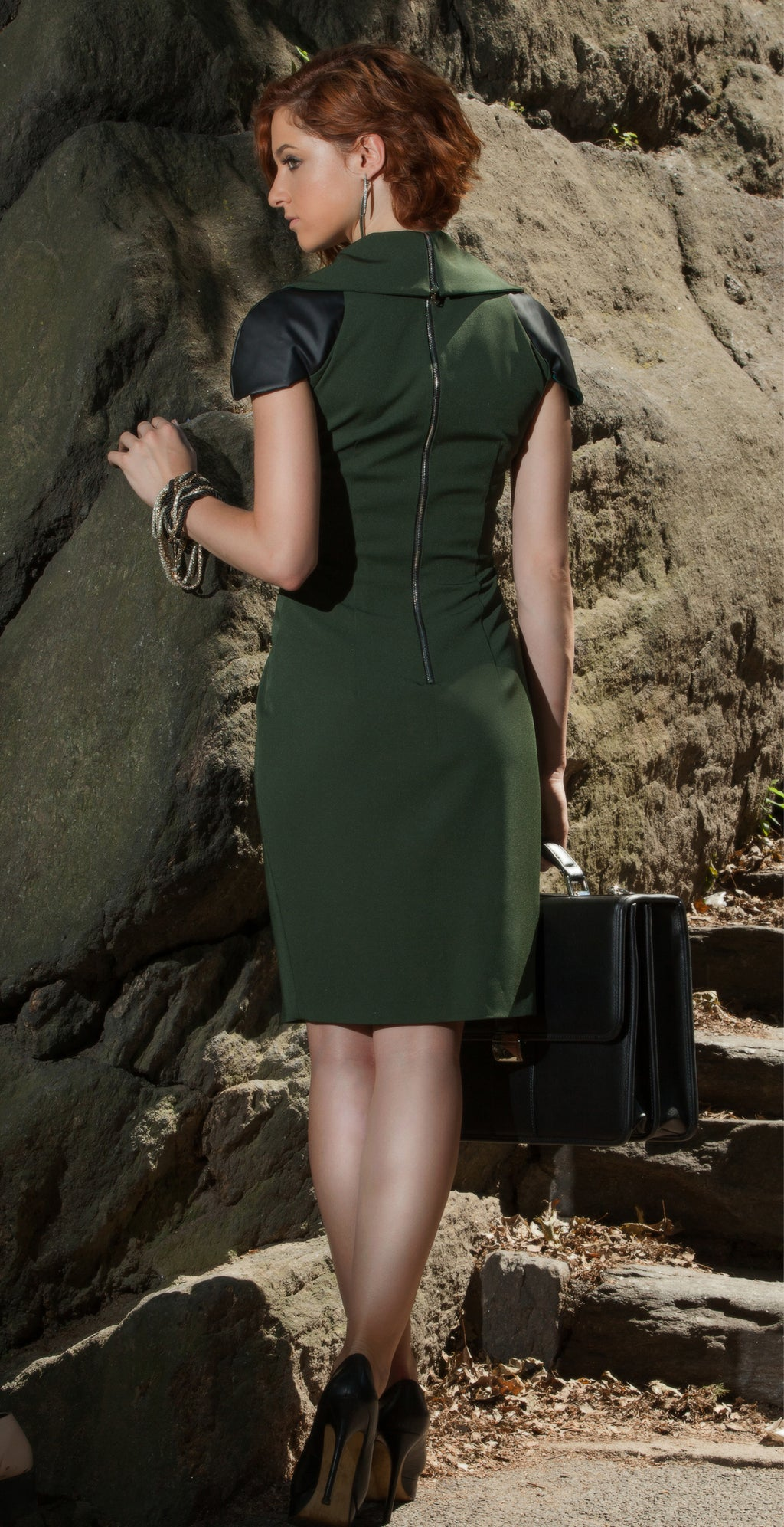 zip collar dress (hunter green)