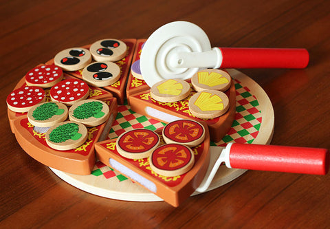 Children wooden pizza toys