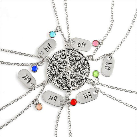 6piece set BFF Pizza Necklace