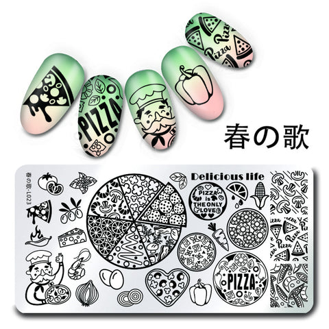 1Pc Stamping Plate Pizza Pattern Nail Art