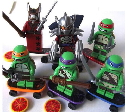 6 Pcs Set Teenage Mutant Ninja Turtles Pizza Action MiniFigures