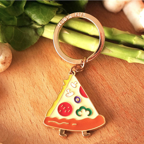 Key chains cute pizza shape Alloy key rings