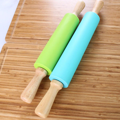Non-stick Silicone Wood Rolling Pin