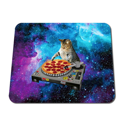 Funny Space Cat and Pizza Rubber Mouse Pad