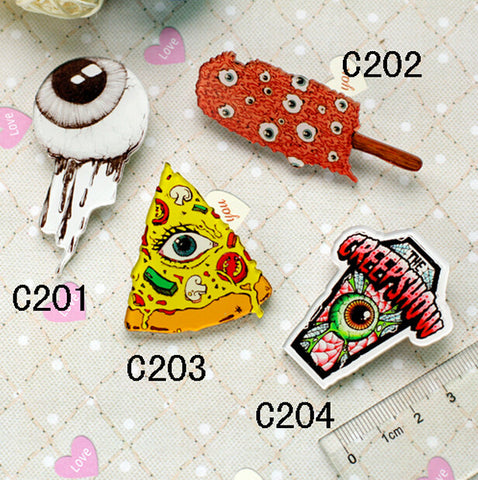 Popular 10 pc eyeball pizza badge -  acrylic