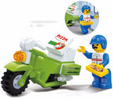 Plastic toy gift building block model mini Takeout pizza Motorcycle 1pc