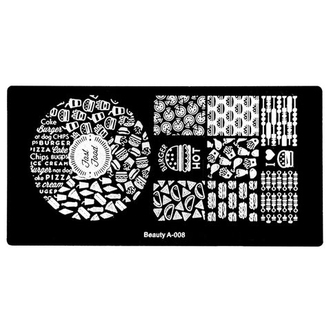 1Pc Nail Art Stamp Stamping Plate - Pizza and More