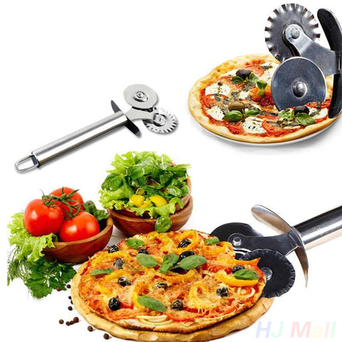 Stainless Steel Double Roller Pizza Knife