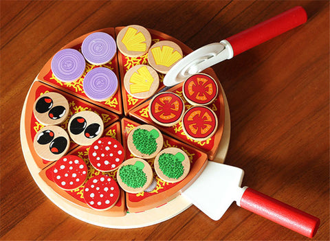 Wooden toy blocks pizza food