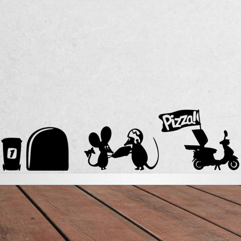 mouse hole Pizza wall stickers