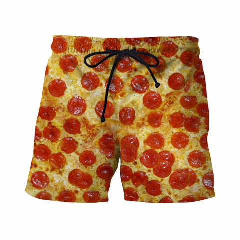 Funny 3D Delicious Pizza Prints Board Shorts