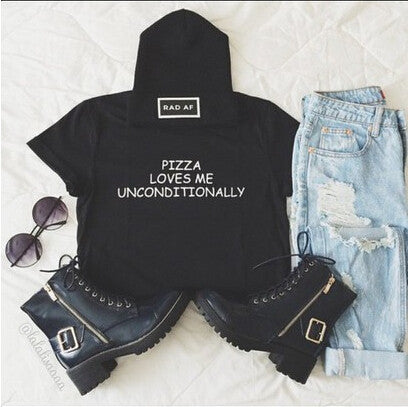 "Womens"" pizza loves me unconditionally"" tshirt crop top"