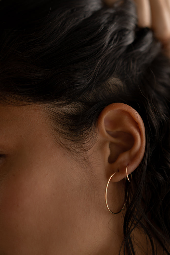 12mm Hoops- Solid 14k Gold