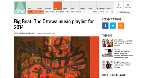 Ottawa Citizen: The Big Beat (Ottawa Music Playlist for 2014)