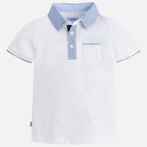 Mayoral S/S Striped Collar Polo 3124