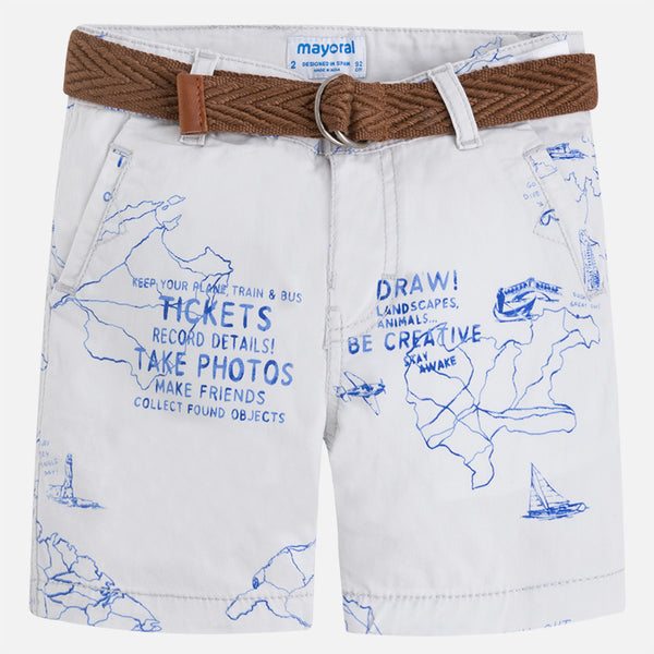 Mayoral Printed Map Shorts w/ Belt 3274