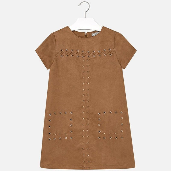 Mayoral Suede Studded Dress Chestnut - 7942