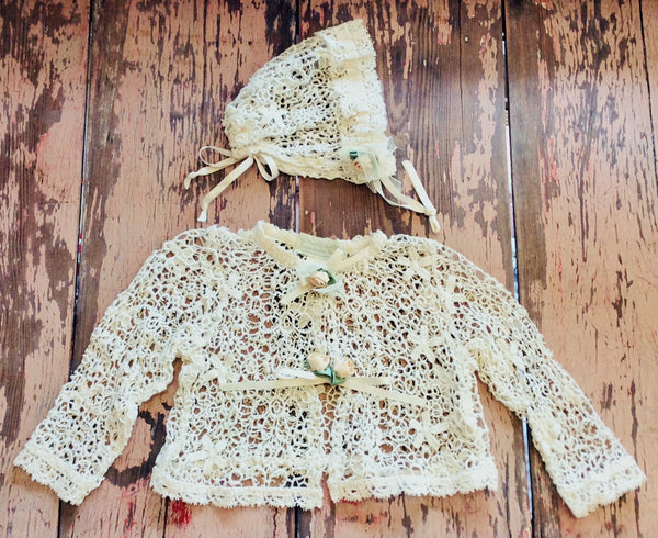 Romantique Bebe Crochet Bolero Jacket and Bonnet Set Size 3-6 M