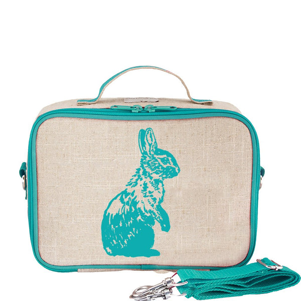 So Young Raw Linen Aqua Bunny Lunch Box