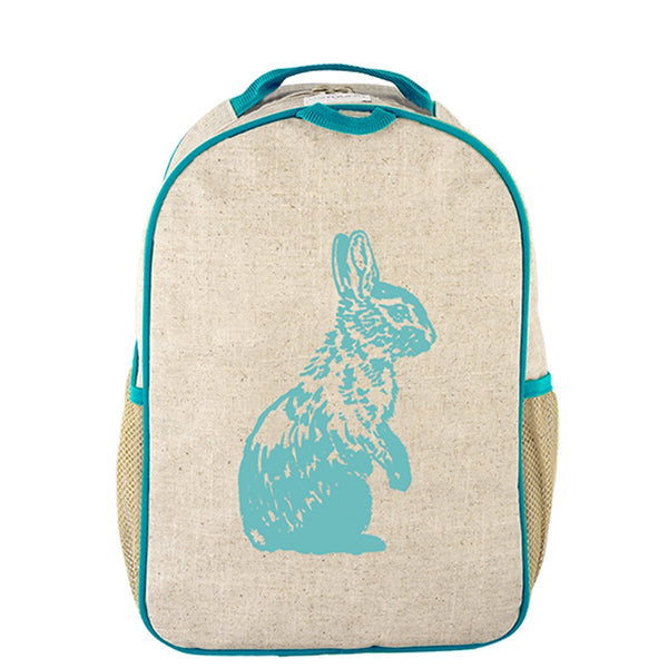 So Young Raw Linen Aqua Bunny Toddler Backpack