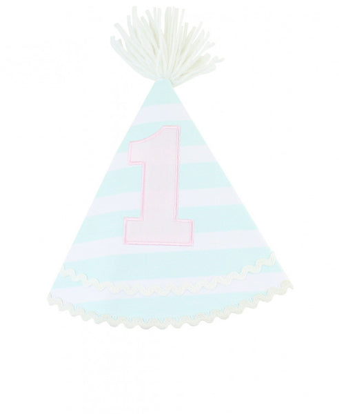 Ruffle Butts Aqua Stripe Birthday Hat (One Size)