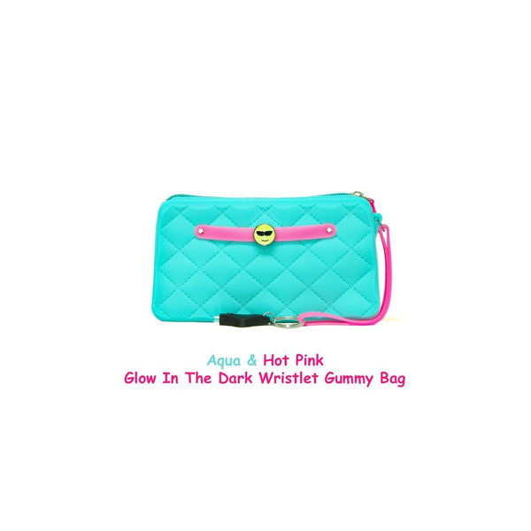Yummy Gummy SCENTED Wristlet Gummy Bags in Aqua & Hot Pink(Glow in the Dark)