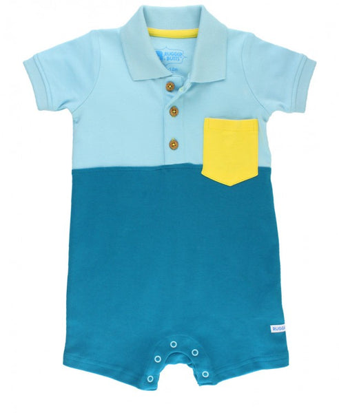 Rugged Butts Blue Color Block Polo Romper