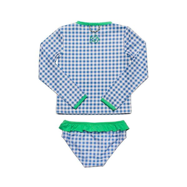 Prodoh Cornflower Blue Gingham Rashguard and Bikini Set