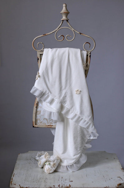 Romantique Be-Be Charlotte Blanket - Ivory - Little Jill & Co.