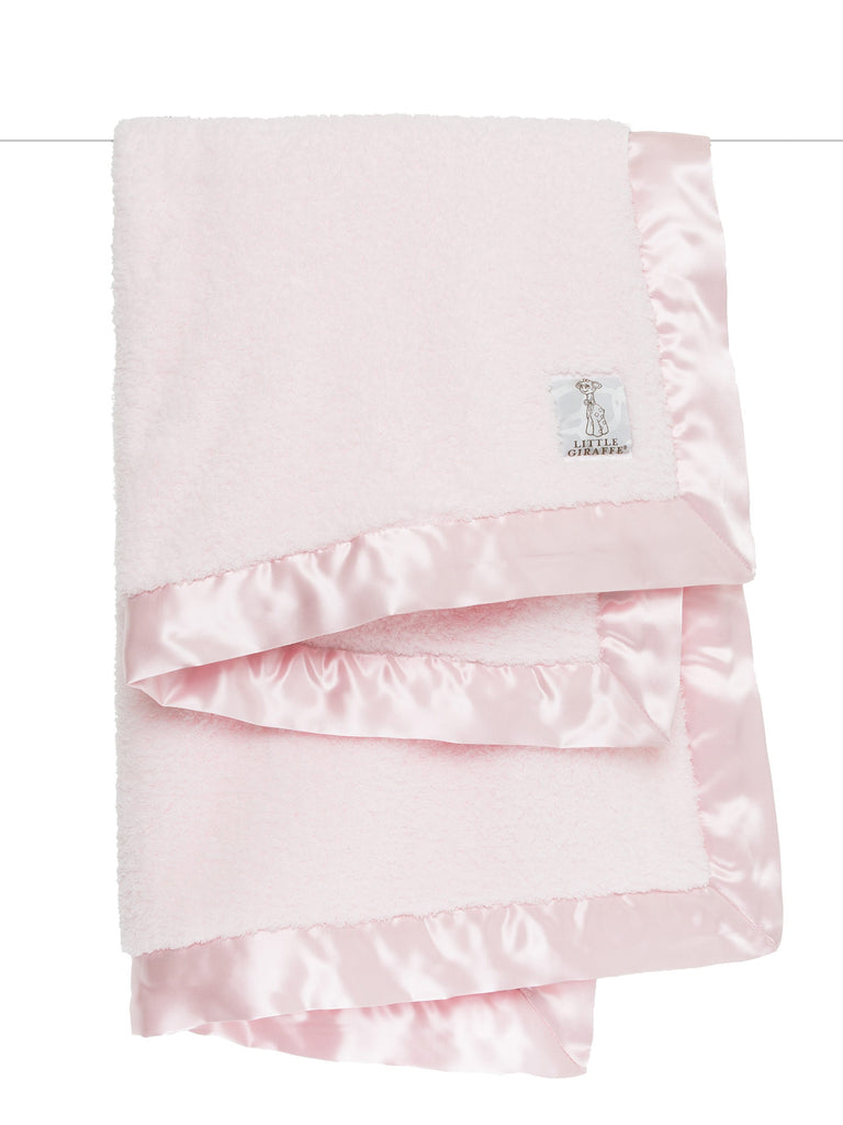 Little Giraffe Chenille Blanket in Pink - Little Jill & Co.