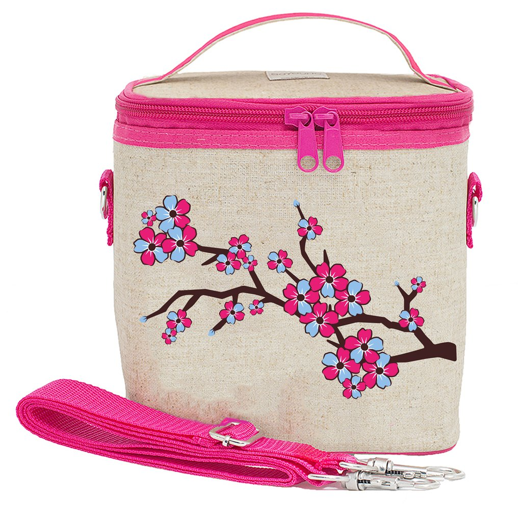 So Young Raw Linen Cherry Blossom Large Cooler Bag