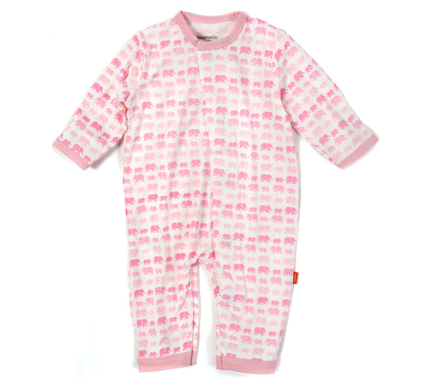 Magnificent Baby Magnetic Pink Dancing Elephants Modal Coverall