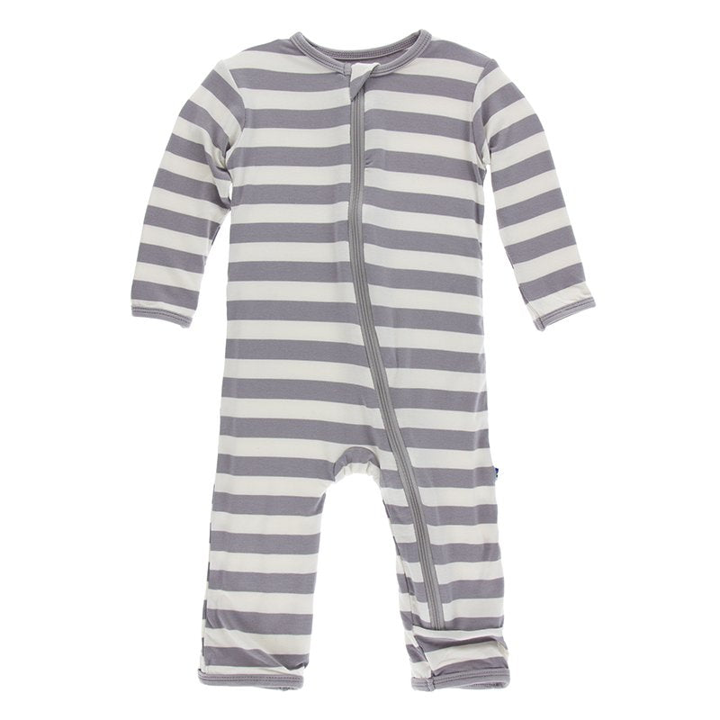 Kickee Pants Essentials Print Coverall with Zipper in Feather Contrast Stripe - Little Jill & Co.