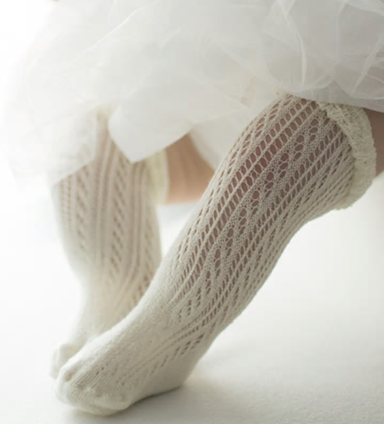 Little Jill & Co. Cotton Crochet Knee High Socks - Little Jill & Co.