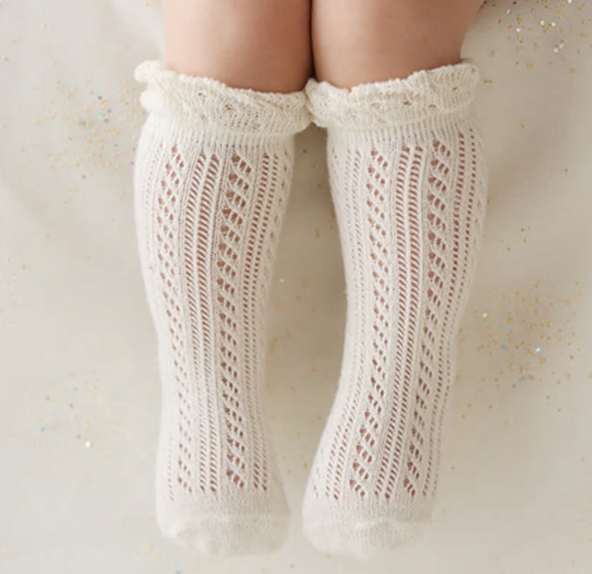 Little Jill Co Cotton Crochet Knee High Socks