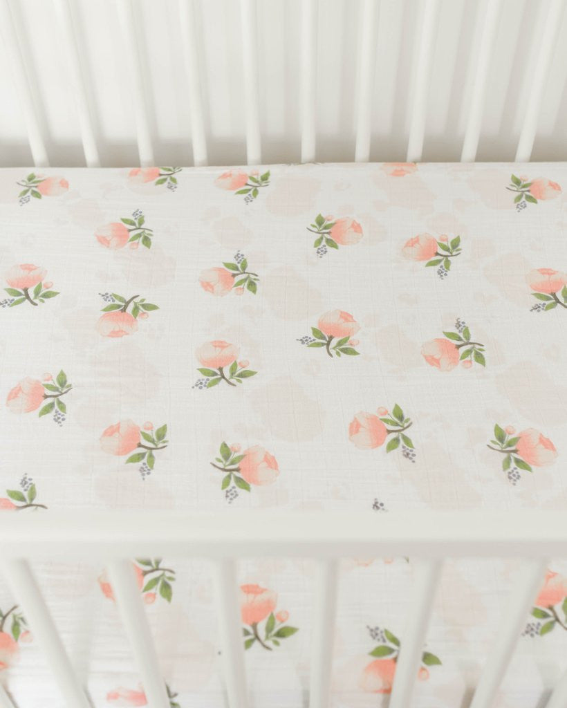 Little Unicorn Cotton Muslin Crib Sheet Watercolor Rose - Little Jill & Co.