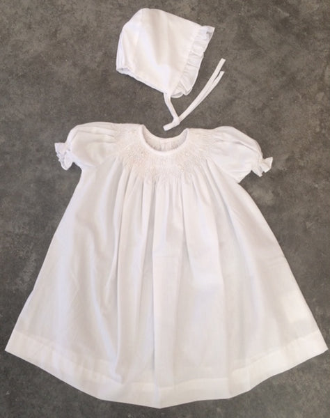 Mom & Me Solid White Smocked Dress-3pc-9276