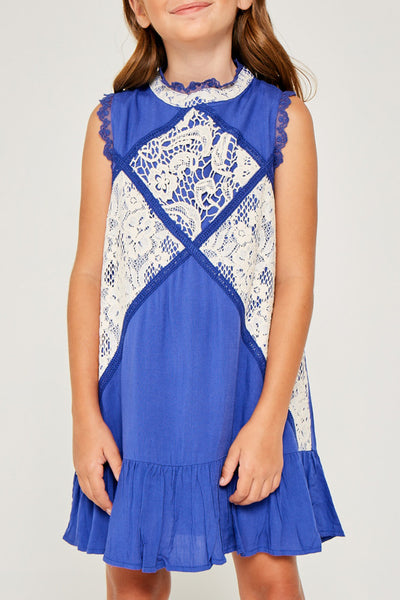 Hayden Lace Panel Mock Neck Ruffle Dress in Cobalt Blue - Little Jill & Co.