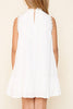 Hayden Lace Panel Mock Neck Ruffle Dress in Off White - Little Jill & Co.