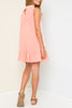 Hayden Lace Panel Mock Neck Ruffle Dress in Peach - Little Jill & Co.