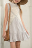 Hayden Lace Panel Mock Neck Ruffle Dress in Silver - Little Jill & Co.