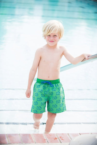Prodoh Green Fish Pattern Swim Trunks - Little Jill & Co.