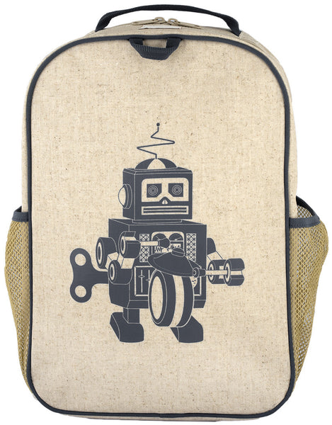 So Young Raw Linen Grey Robot Grade School Backpack